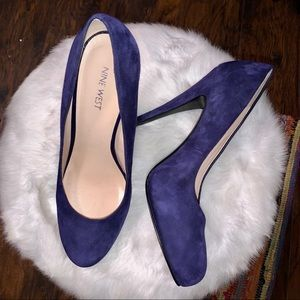 NINE WEST Swankyo Blue Suede High Heels - Size 10M